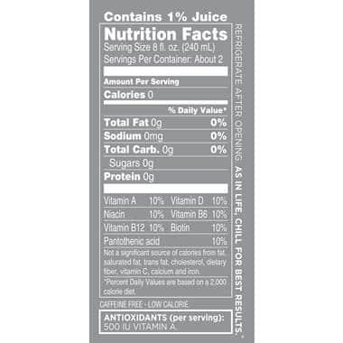 sparkling ice nutrition label