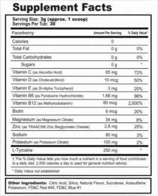 gfuel hydration formula nutrition label