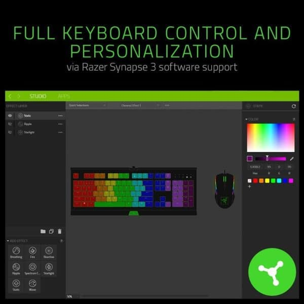 Razer Cynosa Chroma Gaming Keyboard: Individually Backlit RGB Keys - Spill-Resistant Design - Programmable Macro Functionality - Quiet & Cushioned