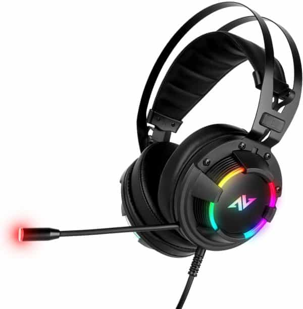 ABKONCORE B500M Virtual 7.1 & 3D Surround Sound Card Gaming Headset with Noise Cancelling Mic RGB LED Adjustable & Compatible with PC, PS4, Xbox one, Nintendo Switch, Tablet, Mobile