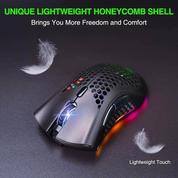 BENGOO KM-1 Wireless Gaming Mouse, Computer Mouse with Honeycomb Shell, 6 Programmed Buttons, 3 Adjustable DPI, Silent Click, USB Receiver, Ergonomic RGB Optical Gamer Mice Mouse for Laptop PC Mac
