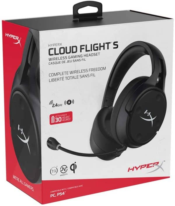 HyperX Cloud Flight S - Wireless Gaming Headset, 7.1 Surround Sound, 30 Hour Battery Life, Qi Wireless Charging, Detachable Microphone with LED Mute Indicator, Compatible with PC & PS4