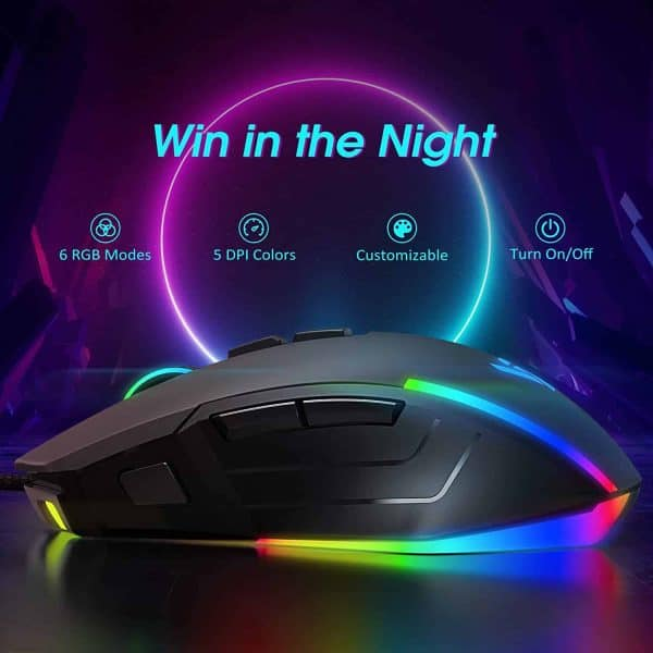 Mouse Gaming RGB PC Gaming Mice Metal, 8000 Adjustable DPI Ergonomic Wired Mouse, 8 Programmable Buttons with 7 Backlight RGB Modes, Comfortable Gamer Mouse with Fire Button, Metal Bottom Plate Black