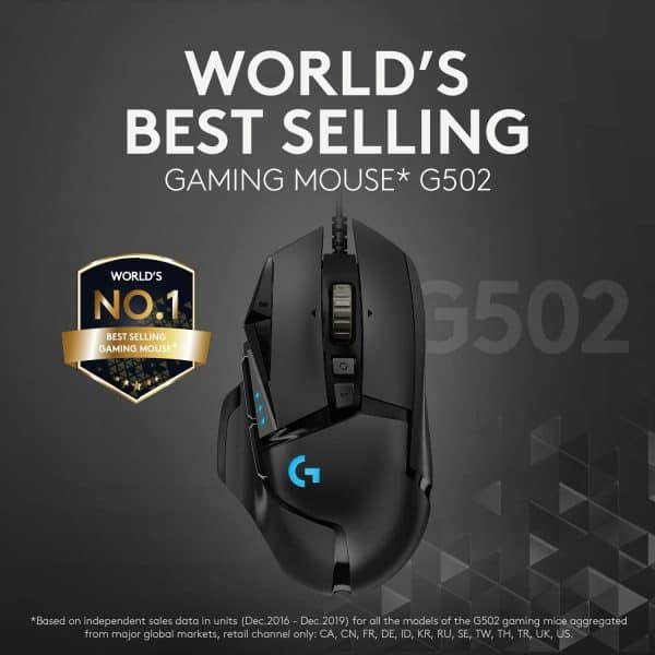 Logitech G502 HERO High Performance Wired Gaming Mouse, HERO 25K Sensor, 25,600 DPI, RGB, Adjustable Weights, 11 Programmable Buttons, On-Board Memory, PC / Mac