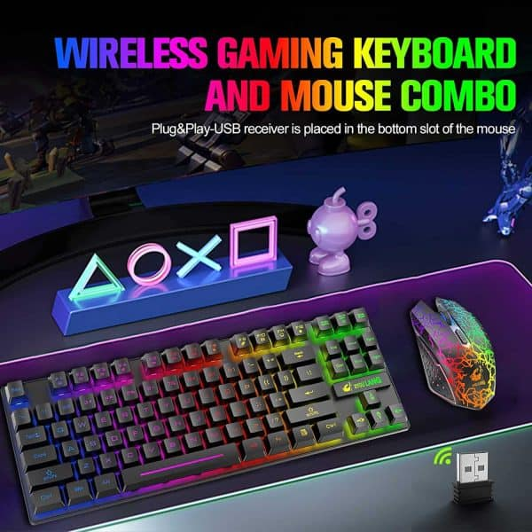 Wireless Gaming Keyboard and Mouse Combo with 87 Key Rainbow LED Backlight Rechargeable 3800mAh Battery Mechanical Feel Anti-ghosting Ergonomic Waterproof RGB Mute Mice for Computer PC Gamer (Black)