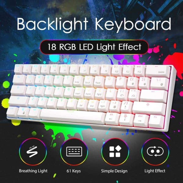RK ROYAL KLUDGE RK61 Wired 60% Mechanical Gaming Keyboard RGB Backlit Ultra-Compact Blue Switch White